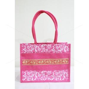 Multi Compartment Fancy Bag - Zari Design Jute Bag with Zipper (14 X 6 X 11 inches)