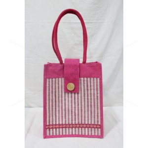 Multipurpose Fancy Hand Bag - Random Colour Thread Border Ladies Hand Bag with Velcro Flip and Inner Pocket (12 X 6 X 14 inches)