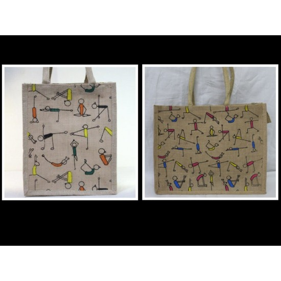 Yoga Print Jute Bag Combo - Shopping Bag & Lunch Bag (Set of 2) - CB004