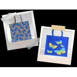 Butterfly Print Jute Bag Combo - Fancy Bag & Lunch Bag (Set of 2) - CB009