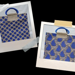 Lunch Bag Combo - Mango Print and Dot Block Print Jute Lunch Bags (Set of 2) - CB011