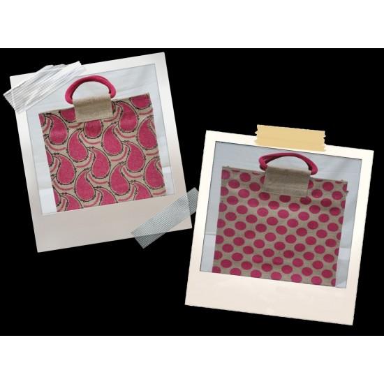 Lunch Bag Combo - Mango Print and Dot Block Print Jute Lunch Bags (Set of 2) - CB011