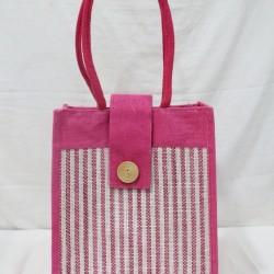 Multipurpose Fancy Hand Bag - Random Colour Thread Border Ladies Hand Bag with Velcro Flip and Inner Pocket (12 X 6 X 14 inches)