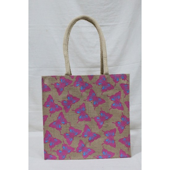 Fancy Utility Bag - Random Colour Butterfly Print with Inner Pocket and Zipper (13 X 5.5 X 12.5 inches)