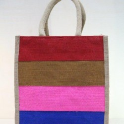 Multi Compartment Fancy Bag - Multi Colour Stripes Print with Zipper (11 X 6 X 12 inches)
