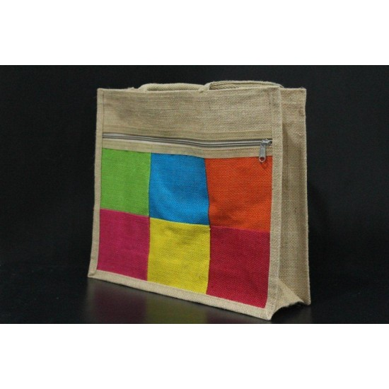 Multi Compartment Fancy Bag - Multi Colour Checked Print with Zipper (14.5 X 5 X 12.5 inches)