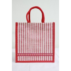Multipurpose Fancy Jute Bag - Random Colour Thread Border Bag with Zipper (12 X 6 X 12 inches)