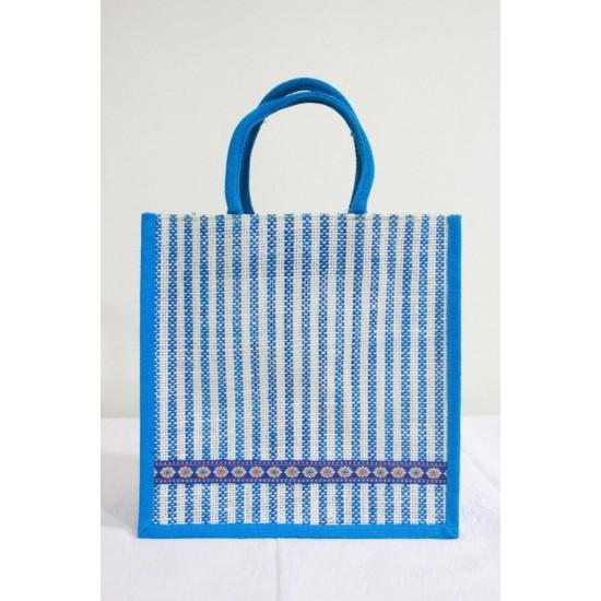 Multipurpose Fancy Jute Bag - Random Colour Thread Border Bag with Zipper (12 X 6 X 12 inches)