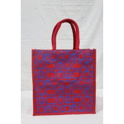 Multipurpose Fancy Jute Bag - Random Colour and Shapes Print with Zipper (12 X 6 X 12 inches)