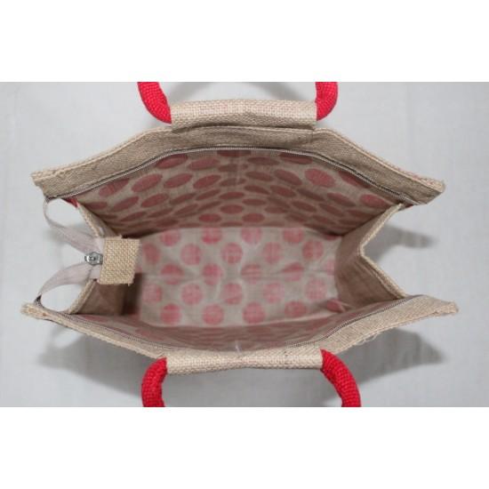 Multipurpose Fancy Jute Bag - Random Colour Dot Block Print with Zipper (12 X 5 X 13 inches)