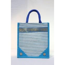 Multipurpose Fancy Jute Bag - Random Colour Zari Design Jute Bag With Zipper (10 X 6 X 11 inches)
