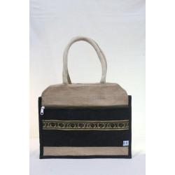Multipurpose Fancy Jute Bag - Random Colour Zari Design Ladies Hand Bag With Zipper (14 X 4 X 11.5 inches)