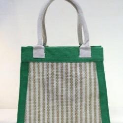 Multipurpose Fancy Jute Bag - Random Colour Thread Design Ladies Hand Bag With Zipper (12.5 X 4 X 11.5 inches)