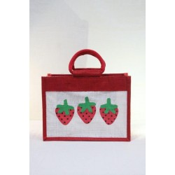 Multipurpose Fancy Jute Bag - Random Colour Strawberry Print with Zipper (12 X 6 X 9 inches)