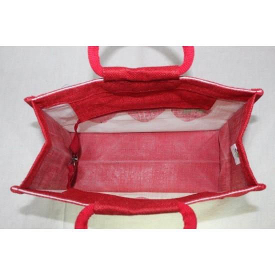 Multipurpose Fancy Jute Bag - Random Colour Strawberry Print with Zipper (12 X 6 X 9 inches)