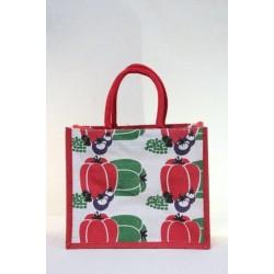 Multipurpose Fancy Jute Bag - Random Colour Vegetables Print with Zipper (13 X 6 X 11 inches)