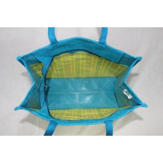 Multipurpose Fancy Jute Bag - Random Colour Canvas Print with Zipper (12 X 6 X 10 inches)