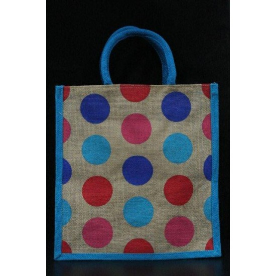 Multipurpose Fancy Jute Bag - Random Colour Dot Design with Zipper (12 X 6 X 12 inches)