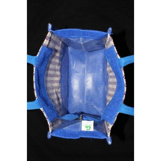 Multipurpose Fancy Jute Bag - Random Colour Thread Border And Random Design Bag with Zipper (10 X 5.8 X 9.5 inches)