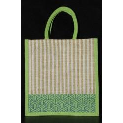 Multipurpose Fancy Jute Bag - Random Colour Thread Border And Random Design Bag with Zipper (12 X 5.8 X 12 inches)