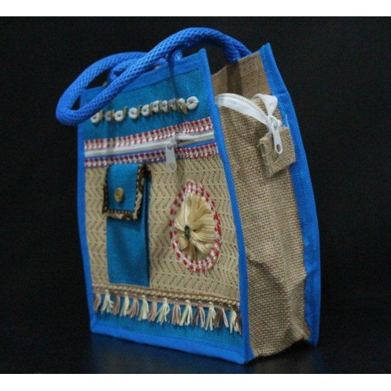 Multi Compartment Fancy Jute Bag - Random Colour Fancy Ladies Handbag with Zipper and Phone Pouch  (13 X 4 X 11 inches)