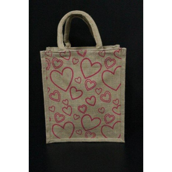 Multipurpose Fancy Jute Bag - Pink Colour Heart Shape Print With Zipper (10 X 5 X 12 inches)