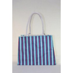 Small Gift Bags / Tambulam Bags for Auspicious Occasions / Navarathri - Multi Colour Stripes Print with Zipper (10.5 X 4 X 8 inches)