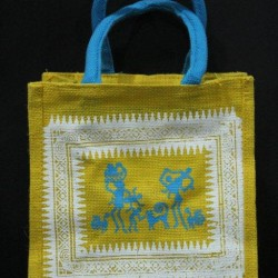 Small Gift Bags / Tambulam Bags for Auspicious Occasions / Navarathri - Random Colour Warli Print with Zipper (9.5 X 5.5 X 10 inches)