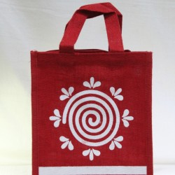 Small Gift Bags / Tambulam Bags for Auspicious Occasions / Navarathri - Random Colour Spiral Shape Print with Zipper (9.5 X 6 X 11 inches)