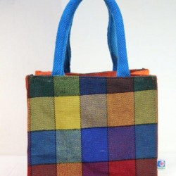 Small Gift Bags / Tambulam Bags for Auspicious Occasions / Navarathri - Multi Colour Thread Design with Zipper (8 X 6 X 8 inches)