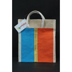 Small Gift Bags / Tambulam Bags for Auspicious Occasions / Navarathri - Multi Colour Zari Design with Adjustable Velcro (9.5 X 5 X 11 inches)