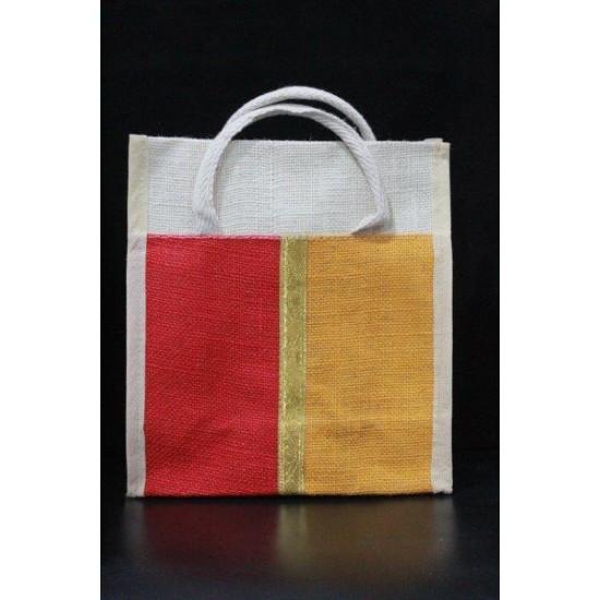 Small Gift Bags / Tambulam Bags for Auspicious Occasions / Navarathri - Multi Colour Zari Design with Adjustable Velcro (9.5 X 5 X 11 inches)