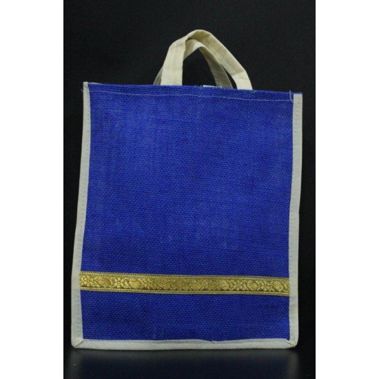 Small Gift Bags / Tambulam Bags for Auspicious Occasions / Navarathri - Random Colour And Border Zari With Velcro And Plain Colour Handle (9.5 X 3 X 11.5 inches)