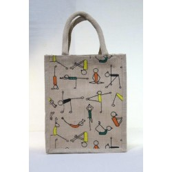 Multi Utility Lunch Bag - Yoga Print with Zipper (9 X 5 X 12 inches)