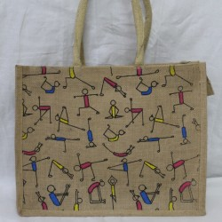 Multi Utility Lunch Bag - Yoga Print with Zipper (16.5 X 5 X 13 inches)