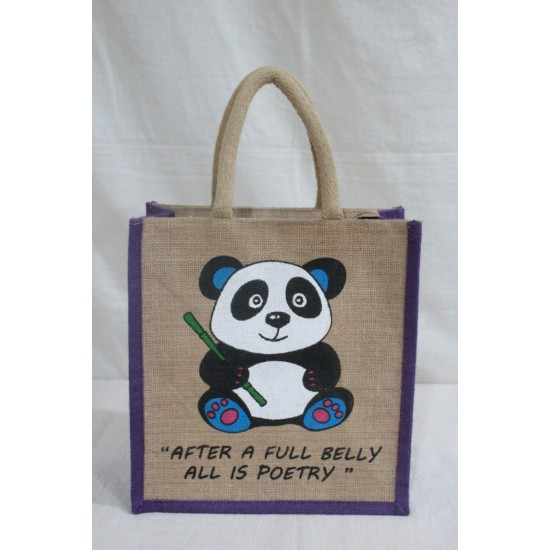 Multi Utility Lunch Bag - Panda Print with Zipper (11 X 6 X 12 inches)
