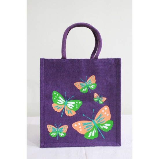 Multi Utility Lunch Bag - Random Colour Butterfly Print with Zipper (11 X 6 X 12 inches)