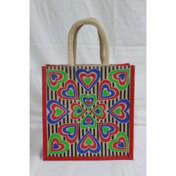 Multi Utility Lunch Bag - Multi Colour Heart Print with Zipper (11.5 X 6 X 12 inches)