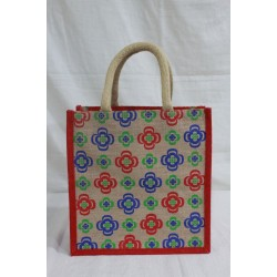 Multi Utility Lunch Bag - Random Colour Flower Design Print with Zipper (11.5 X 6 X 12 inches)