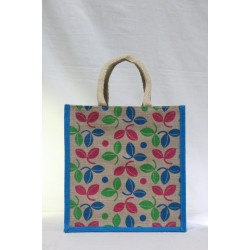 Multi Utility Lunch Bag - Random Colour Leaf Design Print with Zipper (11.5 X 6 X 12 inches)