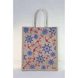 Multi Utility Lunch Bag - Random Colour Anchor and Wheel Print with Zipper (10 X 6 X 12 inches)