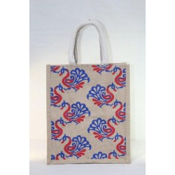 Multi Utility Lunch Bag - Random Colour Peacock Print with Zipper (10 X 6 X 12 inches)