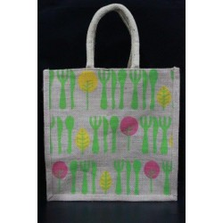 Multi Utility Lunch Bag - Cutlery and Leaves Print with Zipper (12 X 5 X 12 inches)