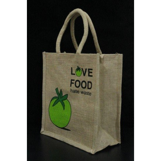 Multi Utility Lunch Bag - Love Food Print with Zipper (10.8 X 5 X 9.8 inches)