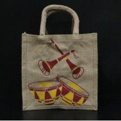 Multi Utility Lunch Bag - Multi Colour Tabla and Shehnai Musical Instrument Print (10 X 5 X 10 inches)