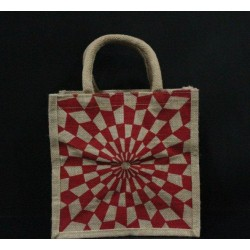 Multi Utility Lunch Bag - Red Colour Abstract Design Print (10 X 5 X 10 inches)