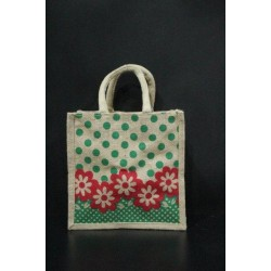 Multi Utility Lunch Bag - Red Colour Flower and Green Dots Print with Zipper (10 X 5 X 10 inches)