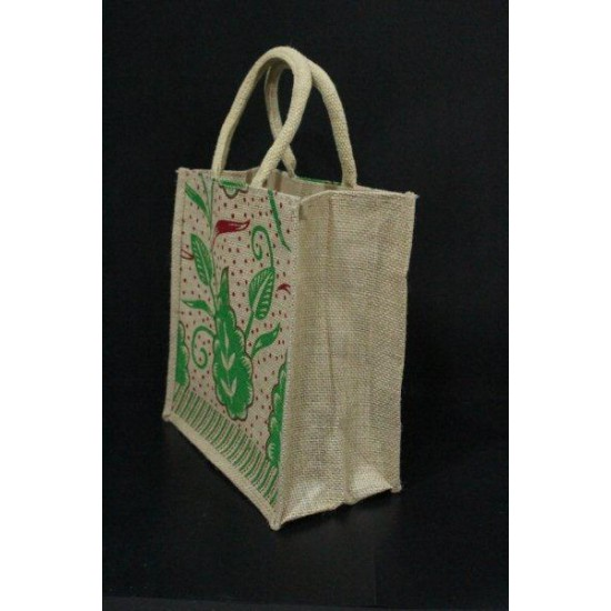 Multi Utility Lunch Bag - Multi Colour Leaves and Dots Print with Zipper (10 X 5.5 X 11 inches)