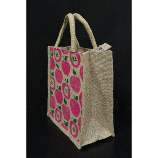 Multi Utility Lunch Bag - Random Colour Apple Print With Zipper (10 X 5.5 X 11 inches)