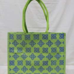Shopping Bag - Random Colour Flower Print with Inner Pocket and Zipper (15.5 X 6 X 13 inches)